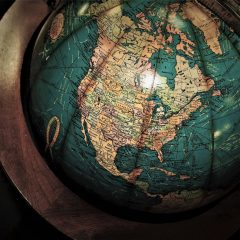 a globe featuring north america